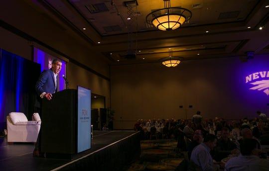 Ryan Radtke speaks during the 36th Annual Bobby Dolan Baseball Dinner in the Reno Ballroom on Thursday.