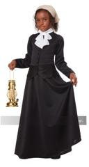 The Susan B. Anthony costume can be converted into a Harriet Tubman costume.