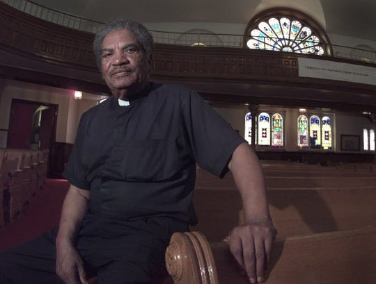 1998: The Rev. Raymond Graves sits inside the New Bethel CME Church. Graves was at the forefront of keeping the Betty Tyson case in the public eye.