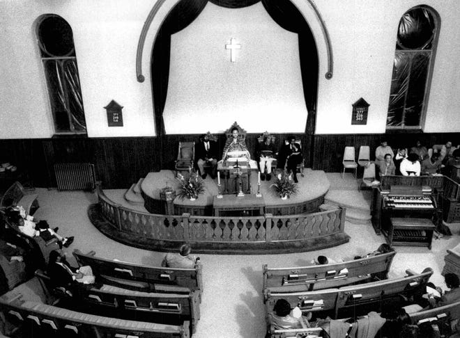 February 1990: About 50 people attended a celebration of the release of Nelson Mandela from a South African prison at the New Bethel Christian Methodist Episcopal Church.