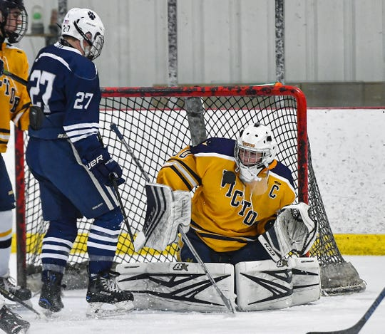 Victor goalie Pieter Bartelse has a 13-1 record and save percentage of .929 so far this season.