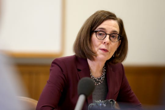 Gov. Kate Brown speaks during the AP Legislative Preview Day at the Oregon State Capitol in Salem on Jan. 17, 2020.