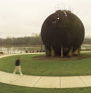 The acid ball in Salem's Riverfront Park, shown here in 1998, once was part of the pulp mill that Boise Cascade operated. It held acid and gases used in cooking wood chips.