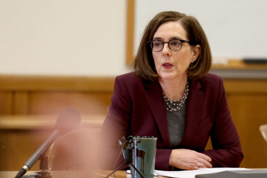 Gov. Kate Brown speaks during the AP Legislative Preview Day at the Oregon State Capitol in Salem on Jan. 17, 2020. The 2020 Oregon legislative session begins February 3.