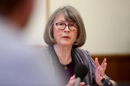 Sen. Ginny Burdick, D-Portland, the Senate Majority Leader, speaks during the AP Legislative Preview Day at the Oregon State Capitol in Salem on Jan. 17, 2020. The 2020 Oregon legislative session begins February 3.