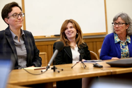 From left, House Speaker Tina Kotek, D-Portland, Christine Drazan, R-Canby, the House Minority Leader, and Barbara Smith Warner, D-Portland, the House Majority Leader, speak during the AP Legislative Preview Day at the Oregon State Capitol in Salem on Jan. 17, 2020. The 2020 Oregon legislative session begins February 3.