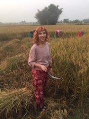 Terry Mikeska's sister, Rebekah Ocker, accompanied him on his 61st mission trip to Nepal where her dream of working in the rice fields came true as the  harvest season closed around Thanksgiving of 2019.