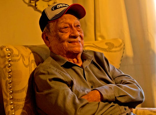 Gilberto Torres smiles as he recalls some of his experiences during World War II on Saturday, Jan. 11, 2020.