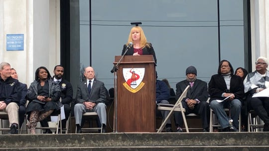 Laurie McGeHee, Caddo Juvenile Court's Probation Department manager and the director of the FREE Coalition To End Human Trafficking in Louisiana, speaks during a proclamation ceremony to observe Human Trafficking Awareness and Prevention Month on Friday, Jan. 17, 2020.