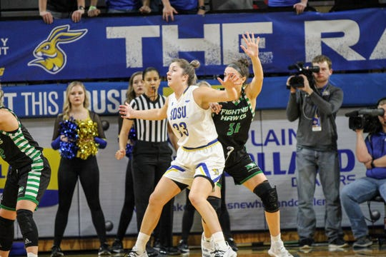 Paiton Burckhard was SDSU's leading scorer in Thursday's win over North Dakota at Frost Arena