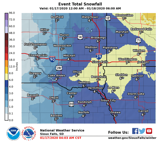 Sioux Falls and surrounding areas could see half a foot of snow or more with a strong winter system moving through the area Friday and Saturday, according to the National Weather Service.