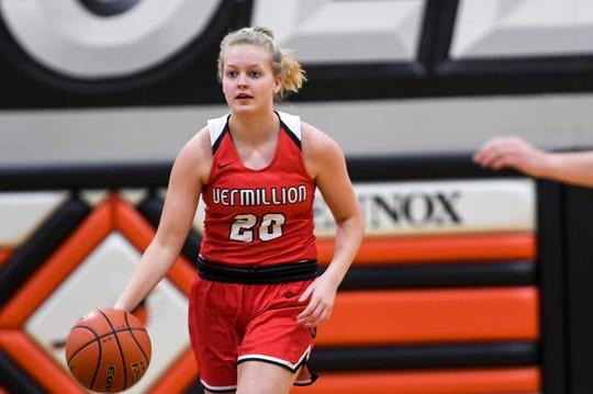 Vermillion's Lexi Plitzuweit (20) runs the ball down the court during a game against Lennox on Thursday, Jan. 16, 2020 at Lennox High School.