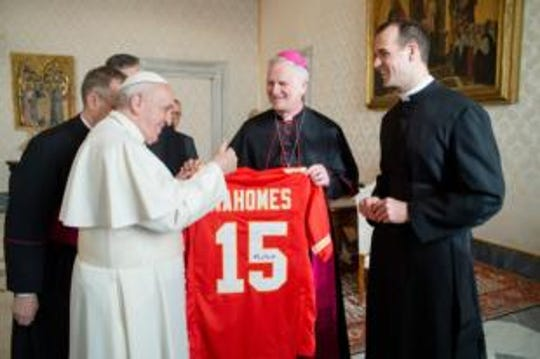 Will Pope Francis be cheering for the chiefs?  Kansas City bishop James V. Johnston gives the pope a Patrick Mahomes jersey?