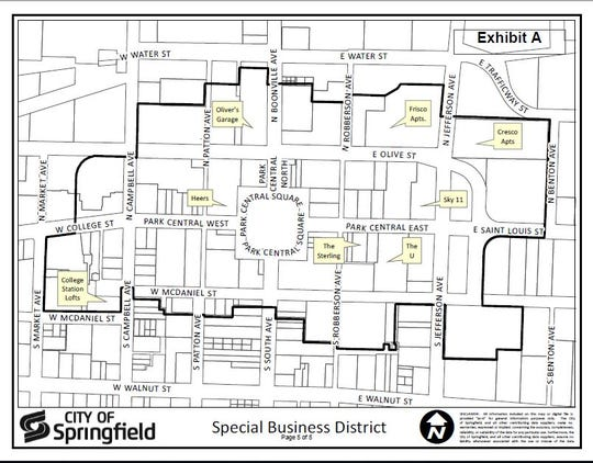 This map shows the boundaries of the Downtown Special Business District. City officials are seeking the abolition of the district with a special mail-in election.