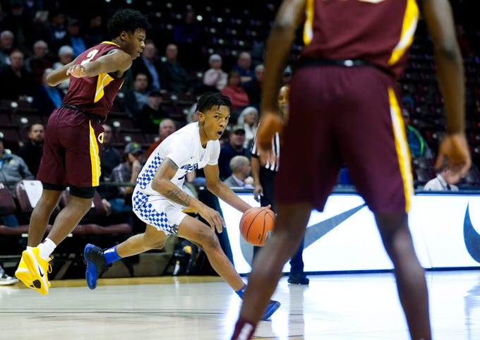 The Vashon Wolverines (St. Louis) take on the Christ the King Royals (New York) during the Bass Pro Shops Tournament of Champions at JQH Arena on Thursday, Jan. 16, 2020.