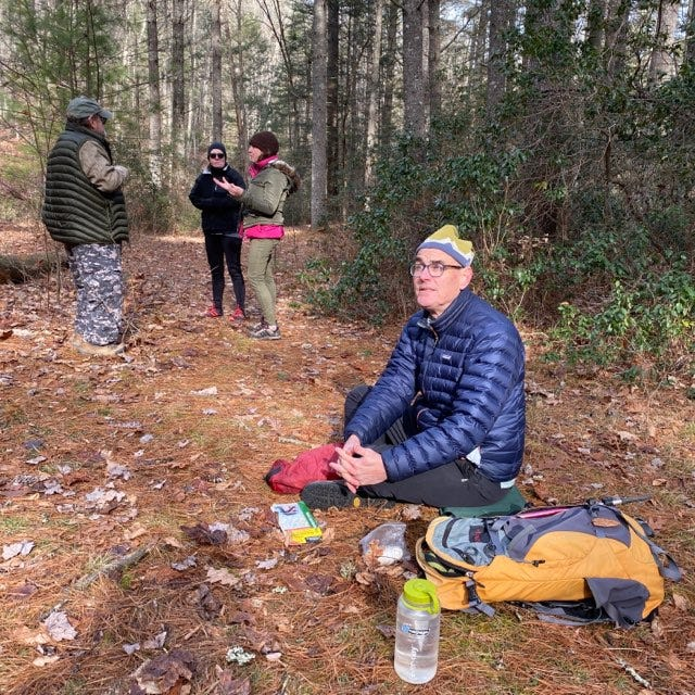 David Sellers, a veteran hike leader with Wild Virginia, takes a breather.