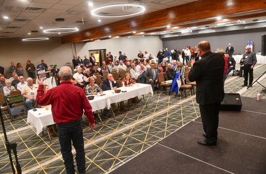 Auctioneers compete during the Minnesota State Auctioneers Association Conference and Show Thursday, Jan. 16, 2020, in St. Cloud.