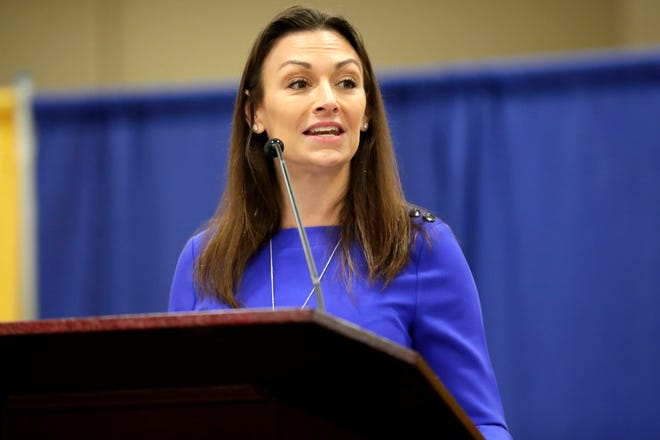 Commissioner of Agriculture Nikki Fried presents as the keynote speaker during the Martin Luther King Jr. Commemorative Breakfast on Friday, Jan. 17, 2020.