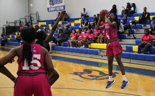 Rickards sophomore Jakiyah Robinson shoots a 3-pointer as Rickards' girls basketball team beat Godby 55-43 on Jan. 16, 2020.