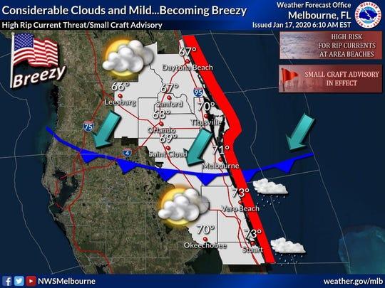 Treasure Coast forecast for Jan. 17, 2020.