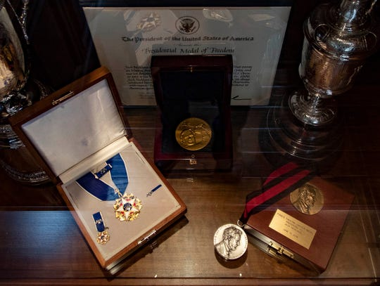 The trophy case In Jack Nicklaus's home office is filled with achievements, including the Presidential Medal of Freedom, Congressional Gold Medal and Lincoln Medal.