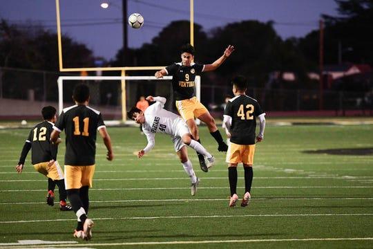 Ventura High's Daniel Gutierrez (9) soars for a header during a Pacific View League game against Rio Mesa.