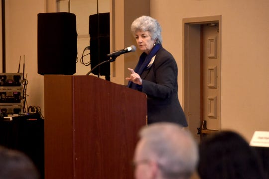 Carmen Ramirez, Chair of the  Economic Development Collaborative, speaks during the EDC Annual Meeting at the Hyatt Regency Westlake on Thursday.