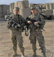 Ben Manthe, on the right, with fellow soldier Blake Eldridge, in Afghanistan.