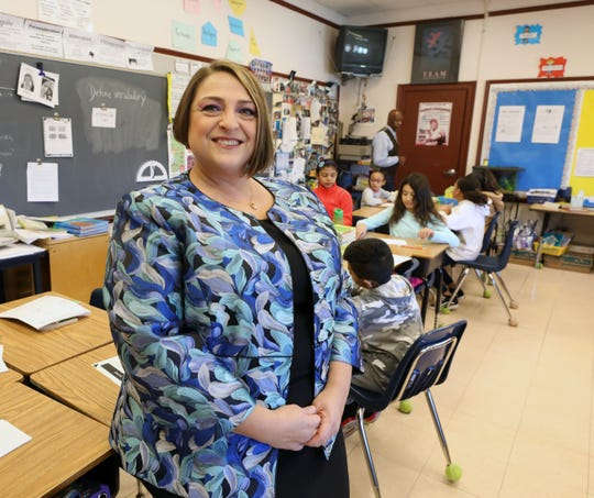 Yonkers Federation of Teachers President, Samantha Rosado-Ciriello is pictured in Bryan Boyd's 4th grade classroom at the Paideia School 24 in Yonkers, Jan. 17, 2020.