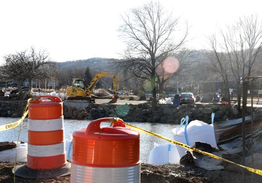Sand bags line the Hudson River where a footbridge is being built in Nyack Jan. 17, 2020. Nyack is building a 120-ft. footbridge connecting the Marina to Memorial Park which is scheduled to be completed by June. The flat wooden bridge will cost $668,000, of which $195,000 was provided through a grant from the New NYBridge Community Benefits Program.