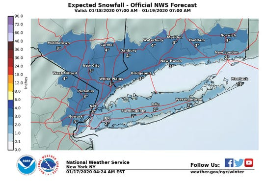 Snow is expected to hit the Lower Hudson Valley on Saturday, Jan. 18, 2020.
