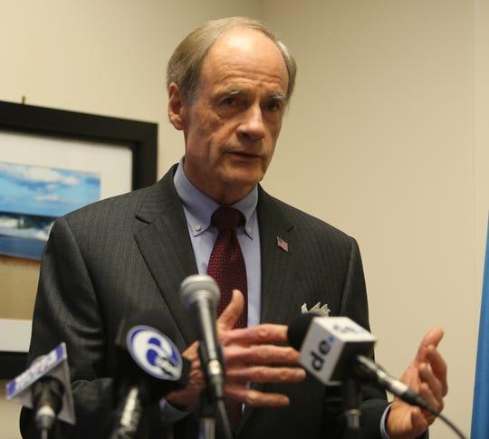 Sen. Tom Carper spoke to the media Friday days before the start of impeachment hearings.
