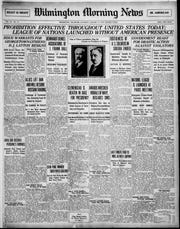The front page of the Wilmington Morning News on January 17, 1920 when Prohibition went into effect.