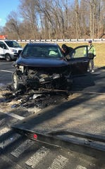 The state's transportation department said a car crashed into a construction site on I-95 north near Marsh Road Thursday morning.