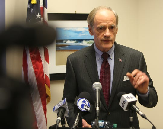 Sen. Tom Carper held a press conference Friday morning at his offices in Wilmington.