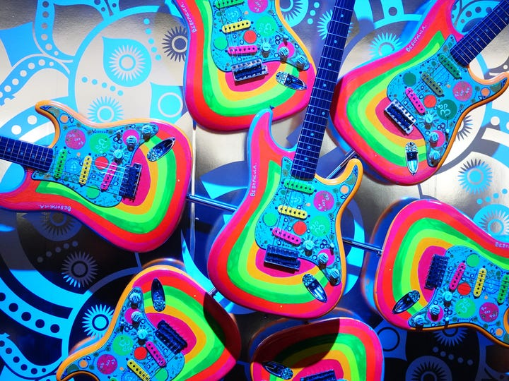 """A Fender display with a replica of George Harrison's """"Rocky"""" guitar"""