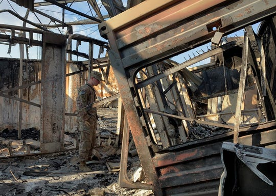 A photo taken on Jan. 13, 2020, during a press tour organized by the U.S.-led coalition fighting the remnants of the Islamic State group, shows a view of damage at Ain al-Asad military airbase, which houses U.S. and other foreign troops in Iraq.