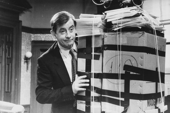 Actor Derek Fowlds in a scene from episode 'Death List' of the television sitcom 'Yes Minister.'