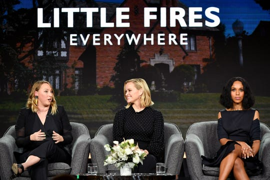 """Executive producer Liz Tigelaar, left and stars and executive producers Reese Witherspoon and Kerry Washington talk about Hulu's """"Little Fires Everywhere"""" at the Television Critics Association Friday."""