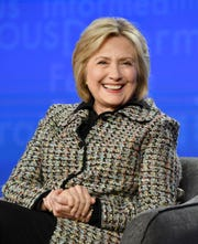 """Hillary Clinton talks to TV reporters about her new Hulu documentary, """"Hillary,"""" out on the streaming service March 6."""