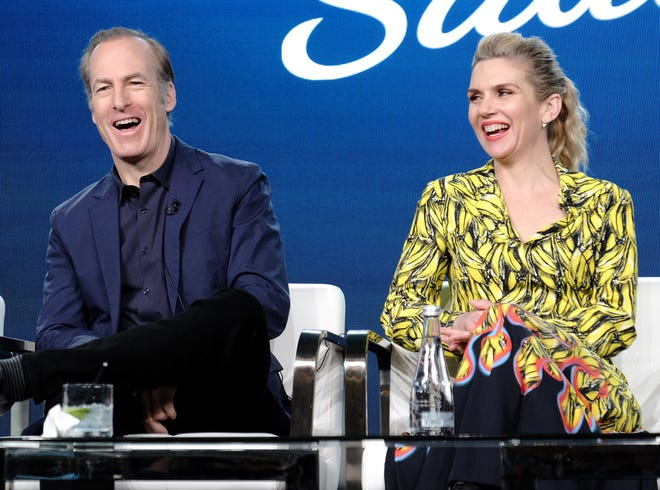 """""""Better Call Saul"""" stars Bob Odenkirk, left, and Rhea Seehorn, discuss the AMC 'Breaking Bad' spinoff's Season 5 premiere in February and renewal for a sixth and final season at the Television Critics Association Thursday."""