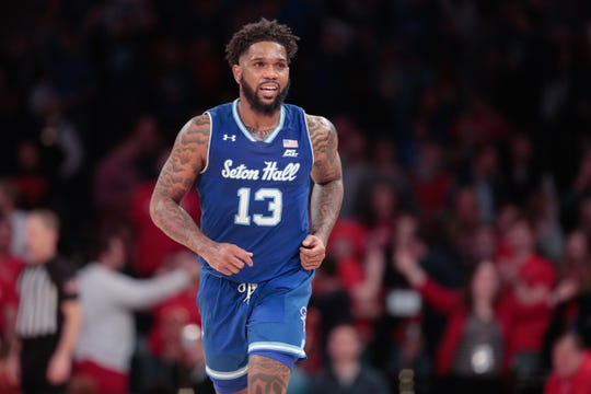 Jan 18, 2020; New York, New York, USA; Seton Hall Pirates guard Myles Powell (13) runs up court after scoring a basket during the second half against the St. John's Red Storm at Madison Square Garden.