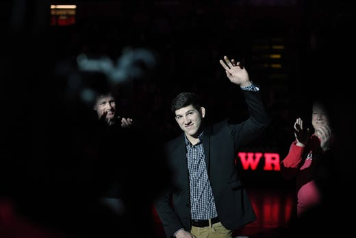 Cornell wrestling at Rutgers on Friday, January 17, 2020. Anthony Ashnault is honored before the start of the match.