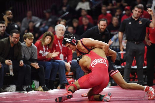 Cornell wrestling at Rutgers on Friday, January 17, 2020. Sammy Alvarez, of Rutgers, battles Charles Tucker, of Cornell, in their 133 pound match.