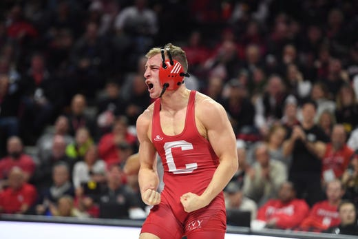 Cornell wrestling at Rutgers on Friday, January 17, 2020. Hunter Richard, of Cornell, celebrates defeating Gerard Angelo, of Rutgers, in their 149 pound match.