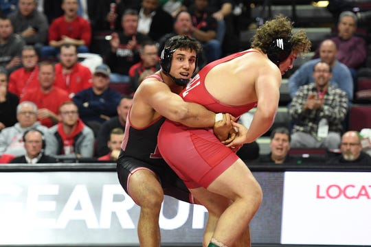 Cornell wrestling at Rutgers on Friday, January 17, 2020. Alex Esposito, of Rutgers, on his way to defeating Brendan Furman, of Cornell, in their 285 pound match.