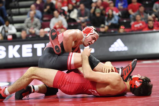 Cornell wrestling at Rutgers on Friday, January 17, 2020. Billy Janzer, of Rutgers, on his way to defeating Jonathan Loew, of Cornell, in their 184 pound match.