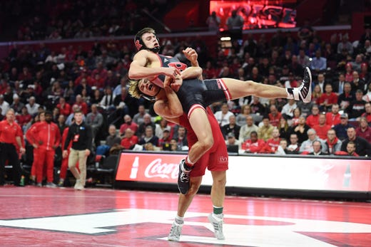 Cornell wrestling at Rutgers on Friday, January 17, 2020. Noah Baughman, of Cornell, on his way to defeating Joe Aragona, of Rutgers, in their 141 pound match.