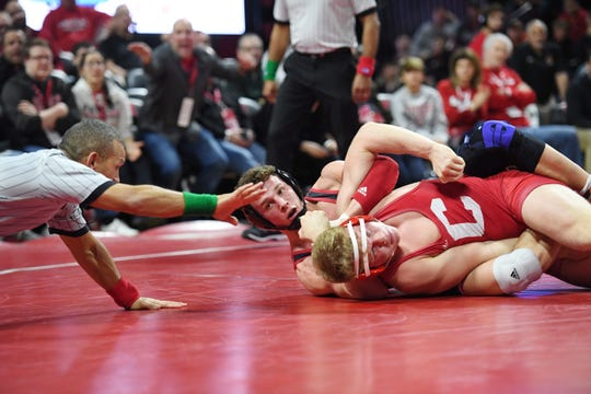 Cornell wrestling at Rutgers on Friday, January 17, 2020. Jordan Pagano, of Rutgers, on his way to defeating Jonathan Fagen, of Cornell, in their 197 pound match.