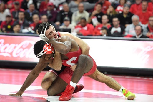 Cornell wrestling at Rutgers on Friday, January 17, 2020. Joe Grello, of Rutgers, on his way to defeating Milik Dawkins, of Cornell, in their 174 pound match.